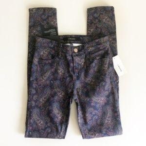 J Brand Eclipse Paisley Super Skinny Jeans Sz 24
